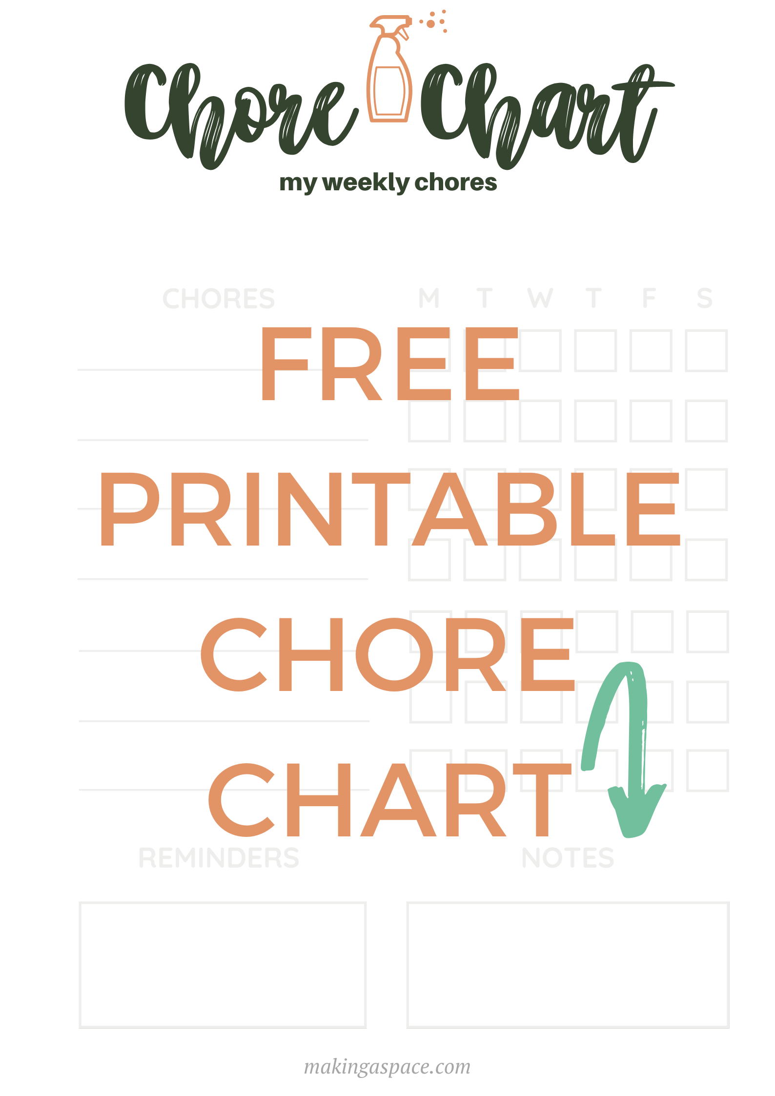 printable chore chart to help organize your space