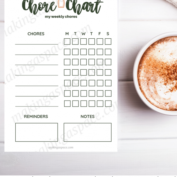 Printable Chore Chart Customizable