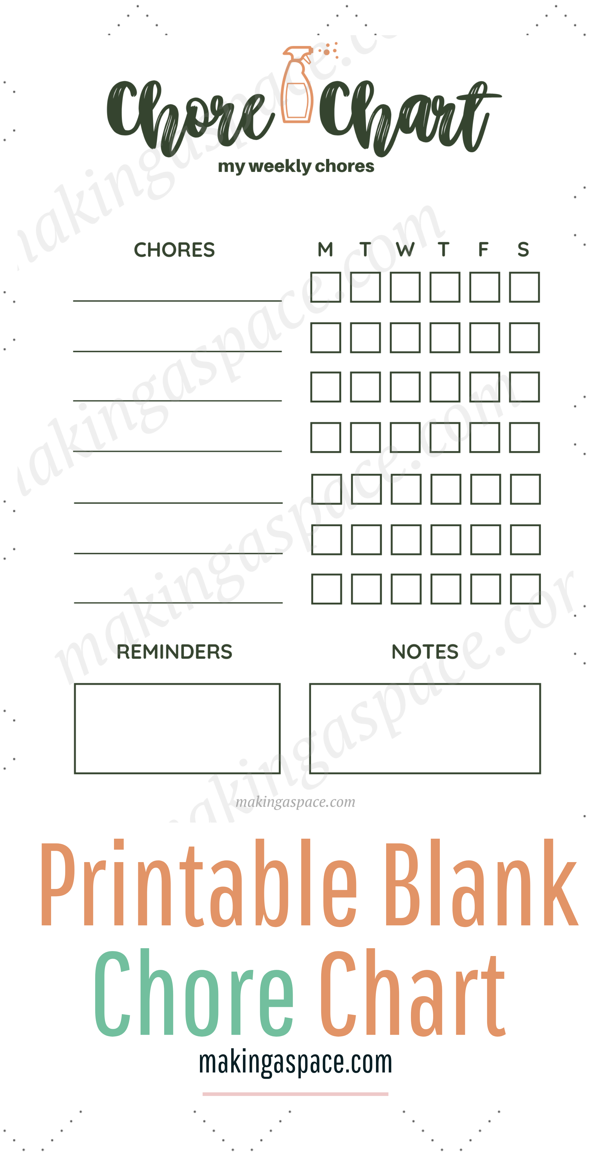 Printable Blank Chore Chart for the House
