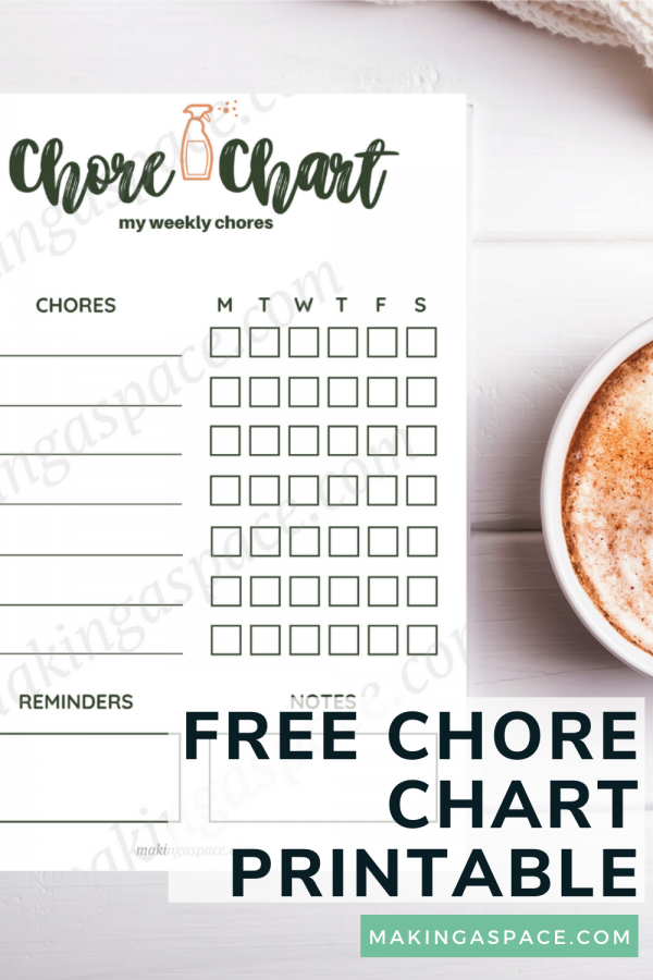 weekly chore chart printable for house chores