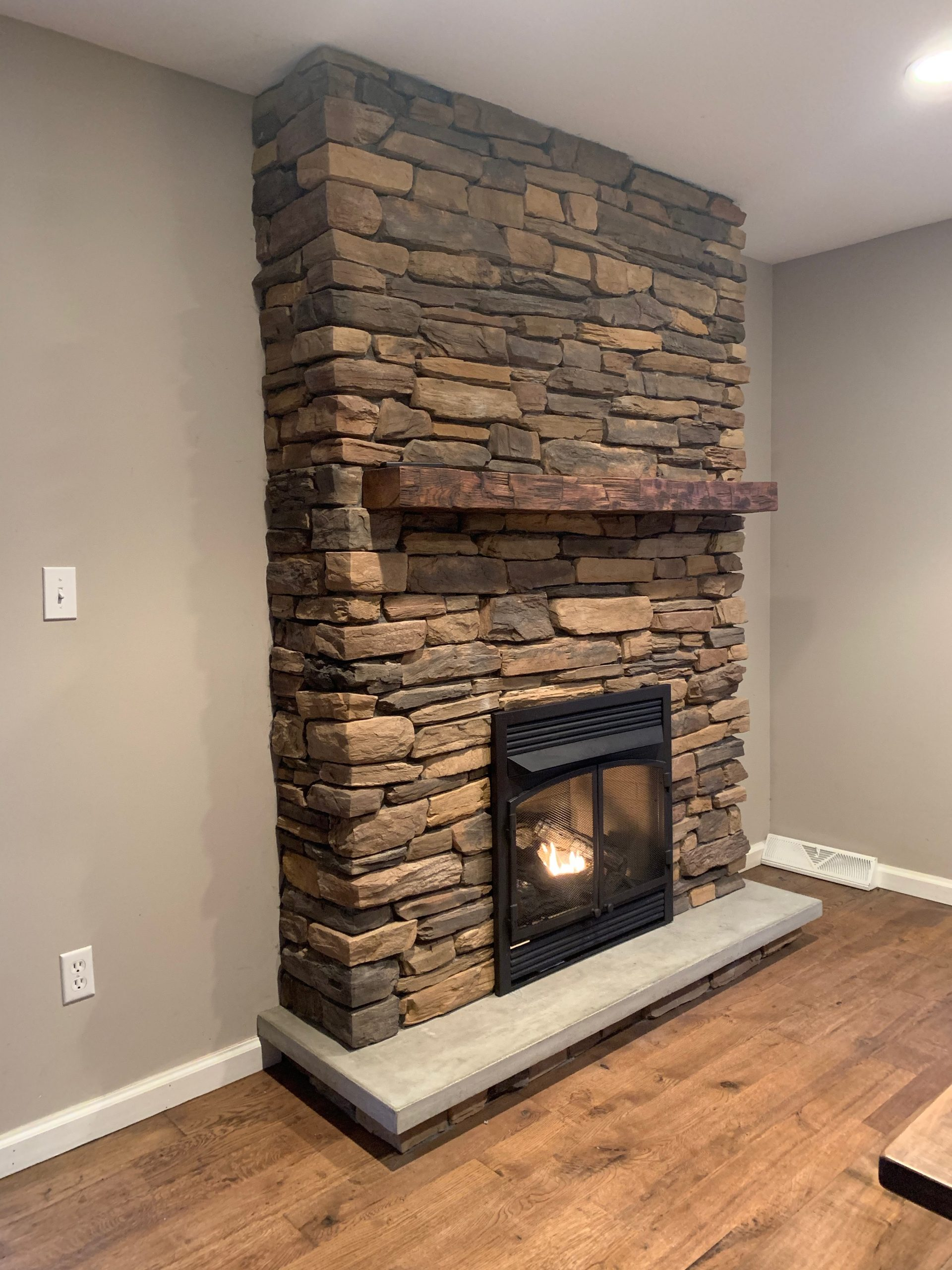 Barnwood Mantle Stone Fireplace Diy Making A Space