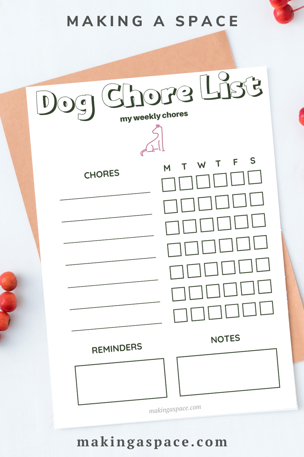 Dog Chore List Printable for Kids and Family