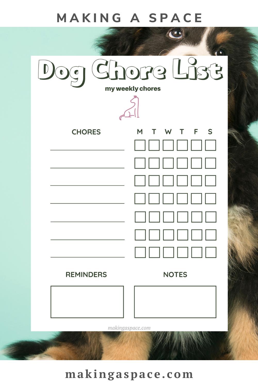 Dog Chores Free Printable