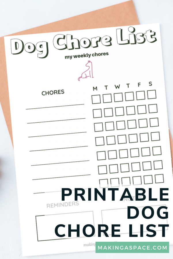 Dog Chore List Printable