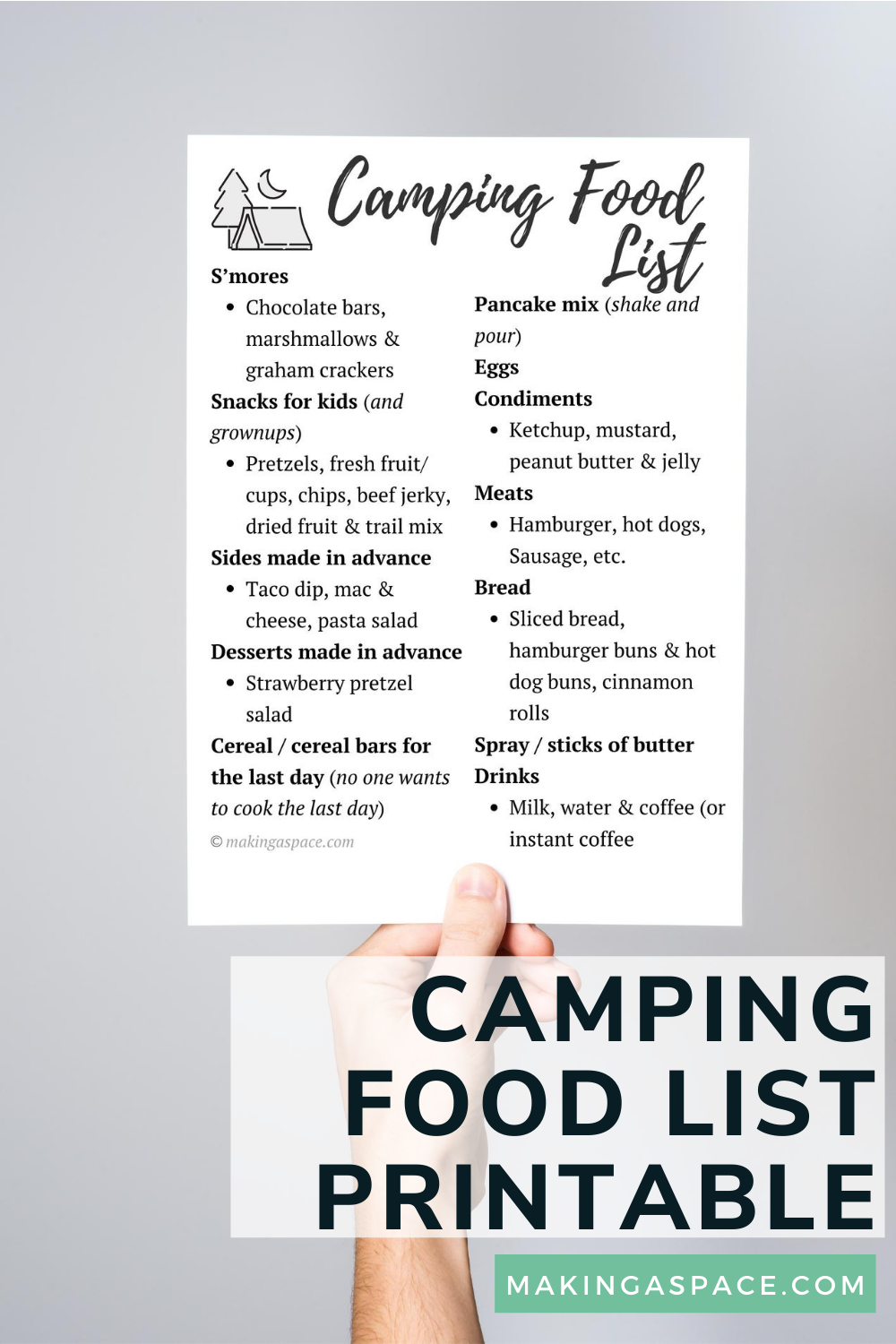 food to bring camping list
