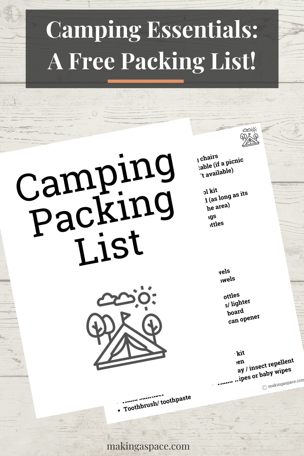 Camp, Cabin and RV packing list for trips