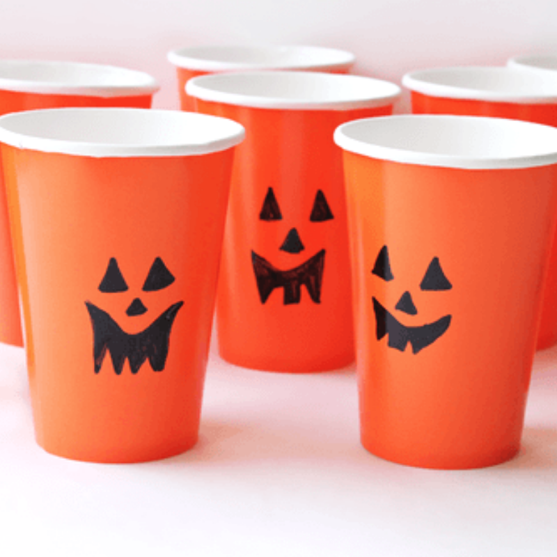 Halloween treat cups with faces