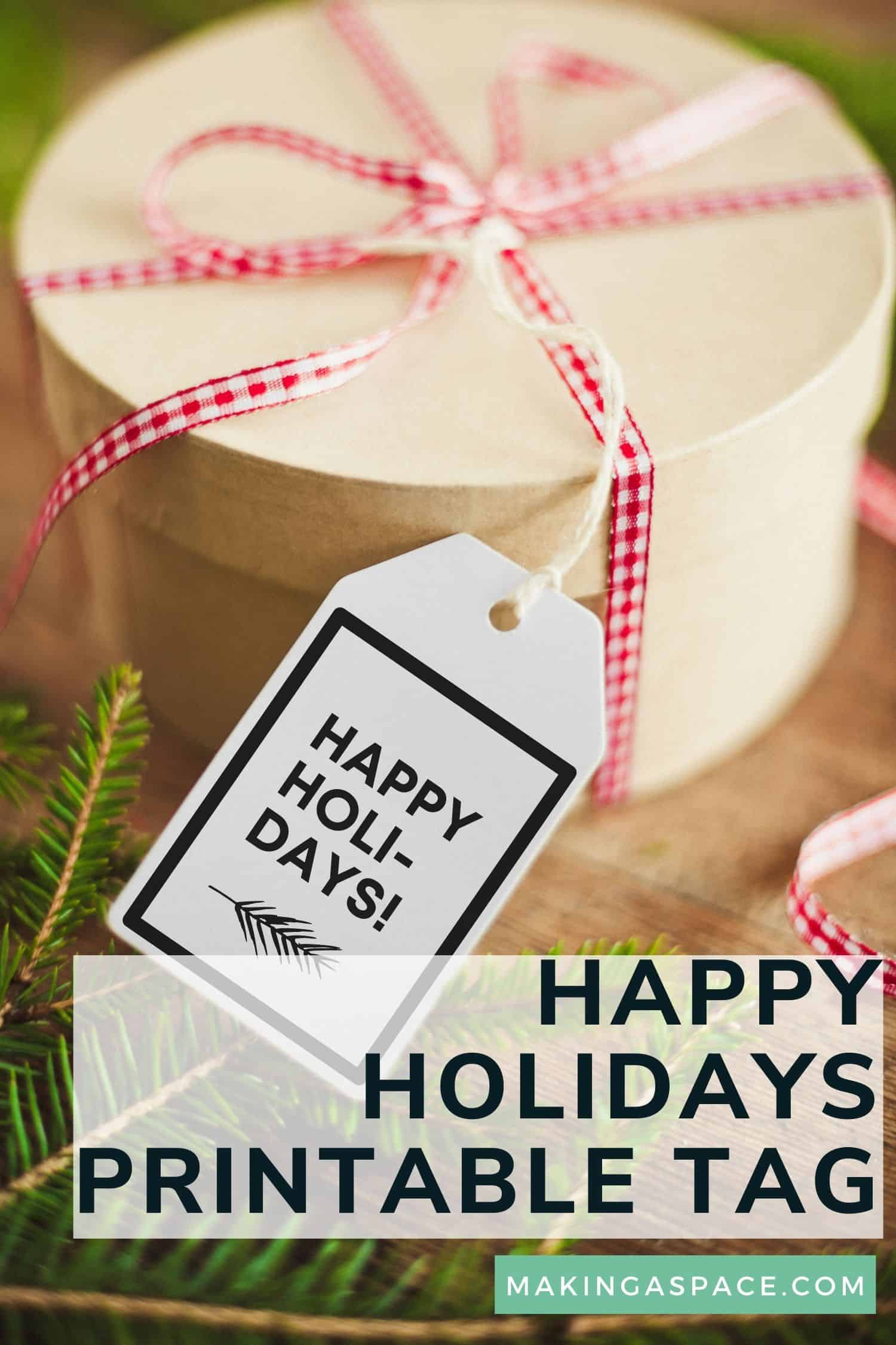 happy holidays free printable gift tags