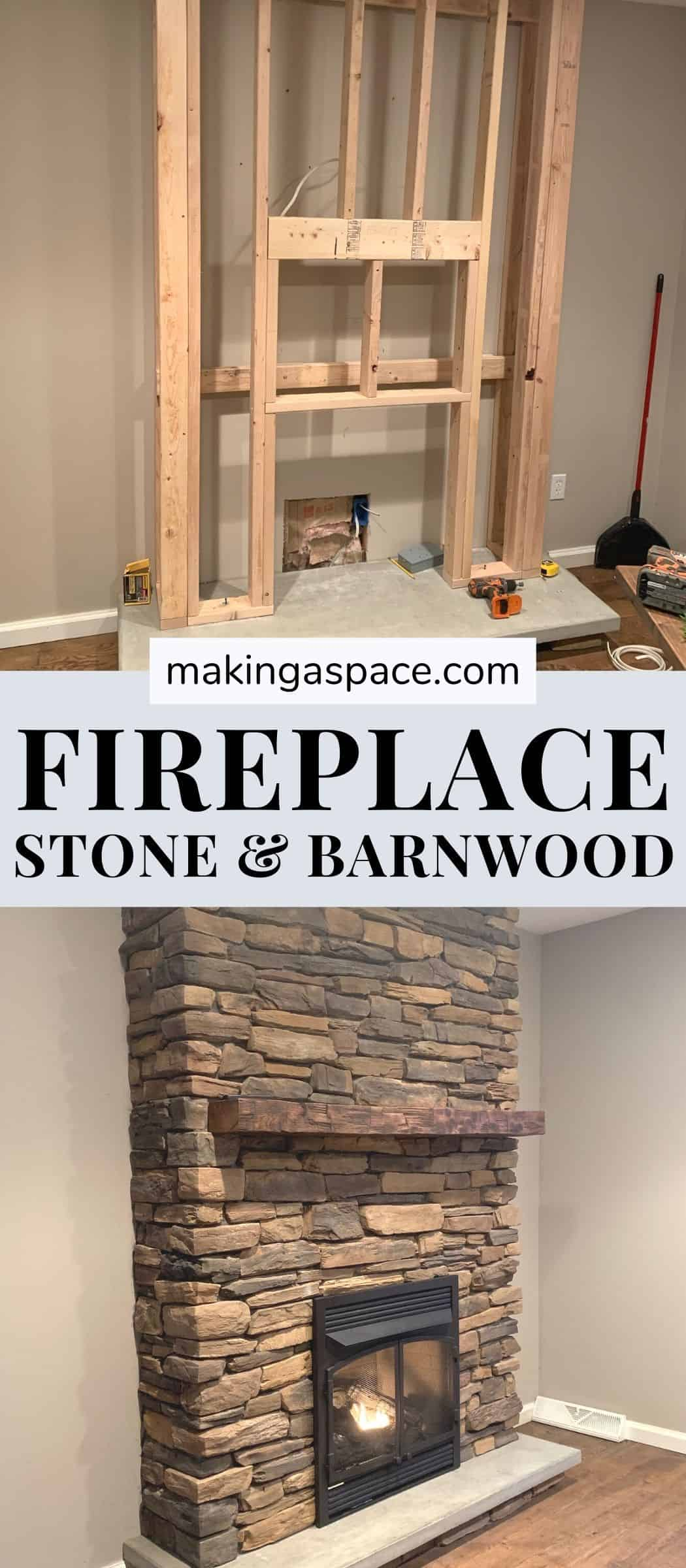 DIY fireplace with stone and barnwood