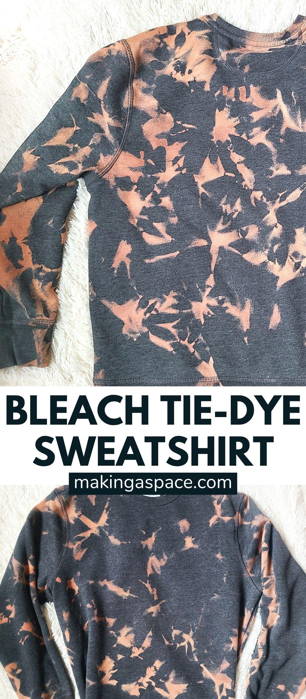 bleach tie-dying a sweatshirt