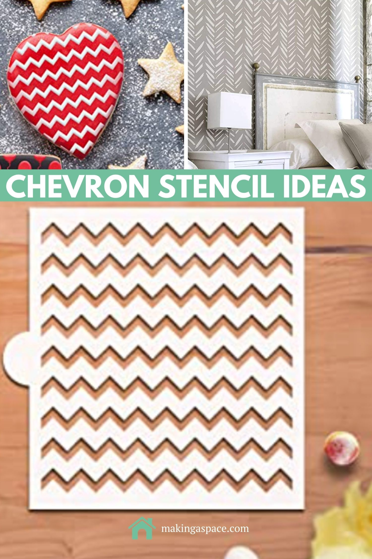 chevron stencil ideas for cookies, wall, and floor