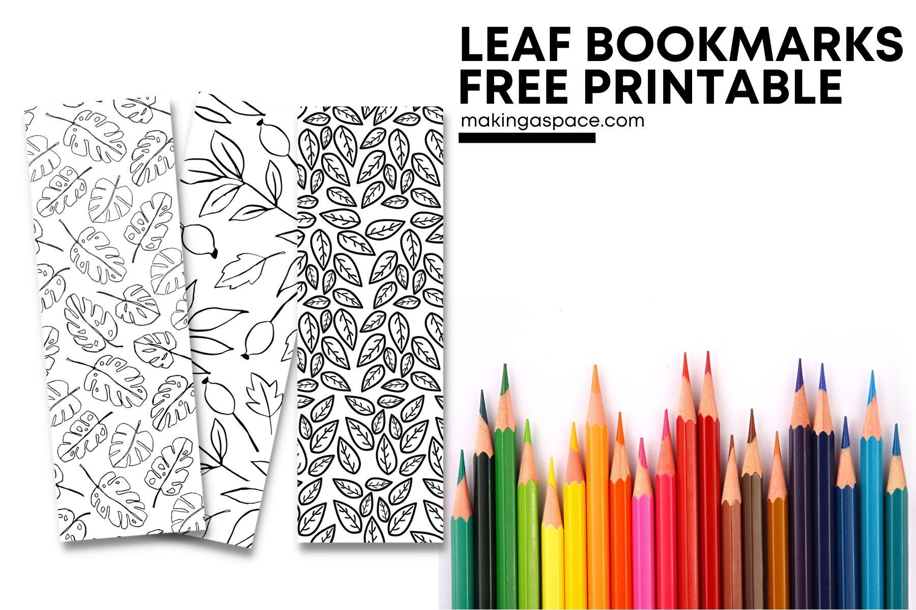 leaf bookmarks printable