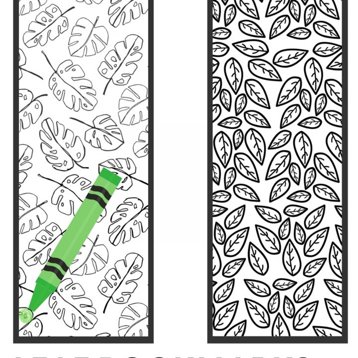 Free Printable Leaf Bookmarks to Color